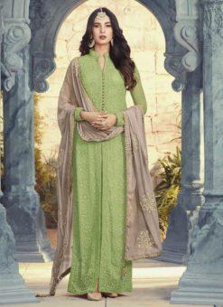 Stunning Green Designer Georgette Party Wear Salwar Kameez