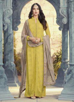 Beautiful Yellow Gerogette Designer Party Wear Salwar Kameez