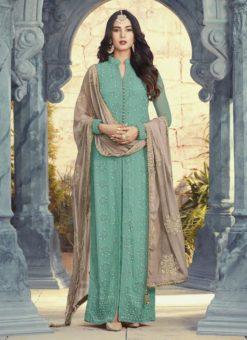 Attractive Sea Green Designer Georgette Embroidered Work Salwar Kameez