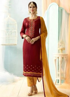 Maroon Cotton Designer Party Wear Salwar Suit
