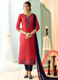 Pink Cotton Embroidered Work Salwar Suit