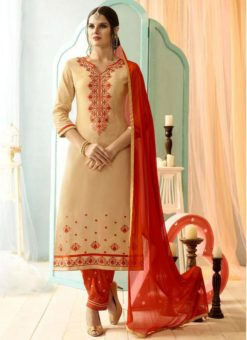 Cream Party Wear Cotton Salwar Suit