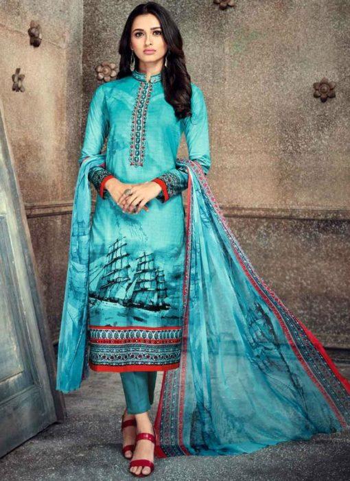 Splendid Blue Party Wear Cotton Printed Churidar Salwar Suit