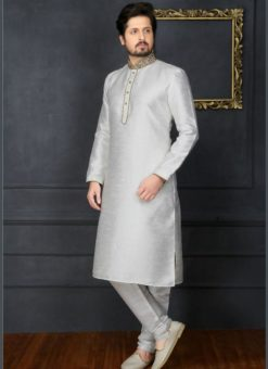 Amazing Off White Banarasi Silk Party Wear Mens Kurta Pajama