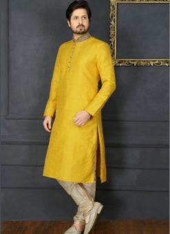 Spectacular Yellow Banarasi Silk Party Wear Mens Kurta Pajama
