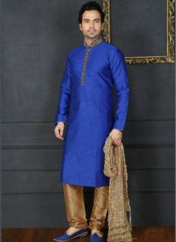 Lovely Blue Banarasi Silk Party Wear Mens Kurta Pajama