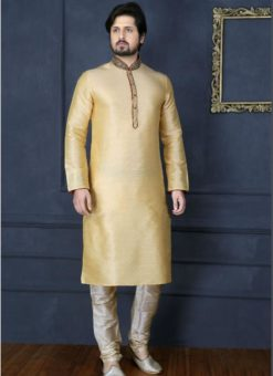 Beautiful Gold Banarasi Silk Party Wear Mens Kurta Pajama