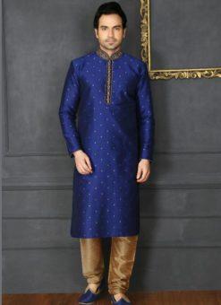 Elegant Blue Banarasi Silk Party Wear Mens Kurta Pajama