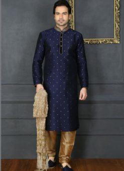 Wonderful Blue Banarasi Silk Party Wear Mens Kurta Pajama