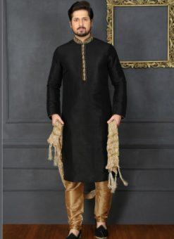 Excellent Black Banarasi Silk Party Wear Mens Kurta Pajama