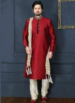 Magnificent Maroon Banarasi Silk Party Wear Mens Kurta Pajama