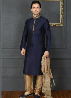 Attractive Blue Banarasi Silk Party Wear Mens Kurta Pajama