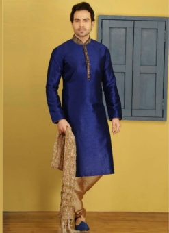 Superb Blue Banarasi Silk Party Wear Mens Kurta Pajama
