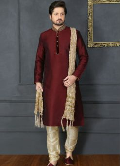 Outstanding Wine Banarasi Silk Party Wear Mens Kurta Pajama