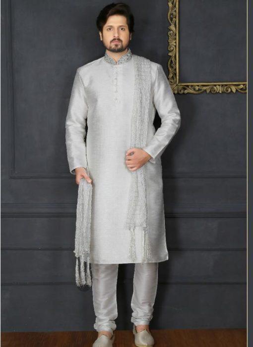 Remarkable Off White Banarasi Silk Party Wear Mens Kurta Pajama