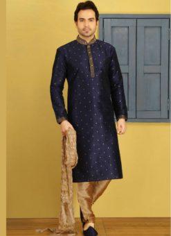 Memorable Blue Banarasi Silk Party Wear Mens Kurta Pajama