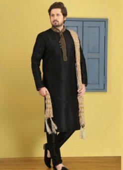 Glorious Black Banarasi Silk Party Wear Mens Kurta Pajama