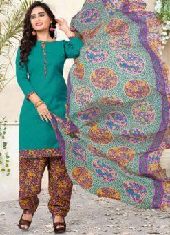 Turquoise Printed Salwar Kameez