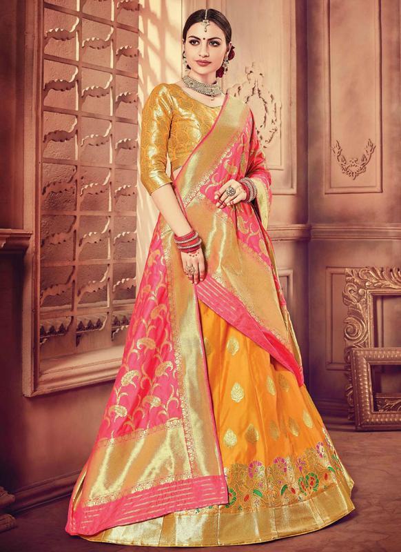Designer Wedding Yellow Banarasi Silk Lehenga Choli Miraamall Usa Uk Canada