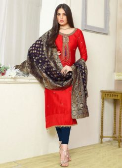 Orange Designer Party Wear Cotton Silk Churidar Salwar Kameez