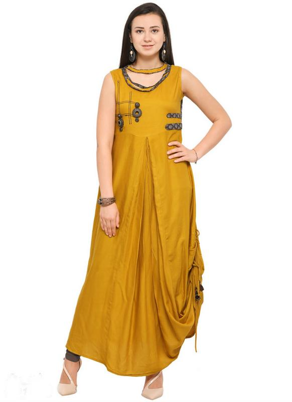 dcfb7831ff9 Impressive Yellow Rayon Cotton Designer Party Wear Long Kurti ...