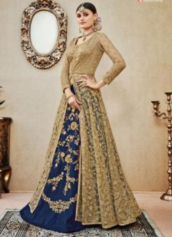 Excellent Beige And Navy Blue Net And Silk Designer Wedding Wear Long Lehenga Choli