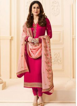 Kareena Kapoor Designer Party Wear Satin Silk Churidar Suit