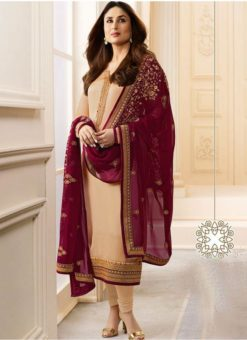 Peach Satin Silk Kareena Kapoor Churidar Suit