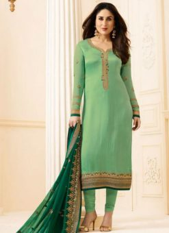 Kareena Kapoor Satin Silk Party Wear Churidar Suit