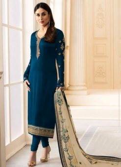 Kareena Kapoor Navy Blue Silk Churidar Salwar Kameez