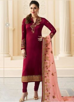 Satin Silk Party Wear Kareena Kapoor Churidar Suit
