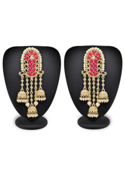 Attractive Beautified With Pink Stone Work Earrings Set
