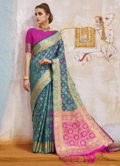 Luxurious Blue Traditional Wear Silk Saree