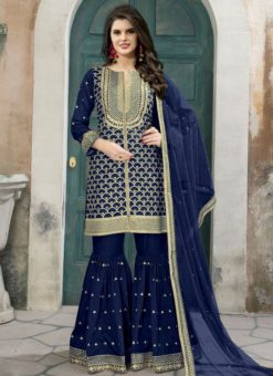 Beautiful Blue Art Silk Embroidered Word Designer Palazzo Suit