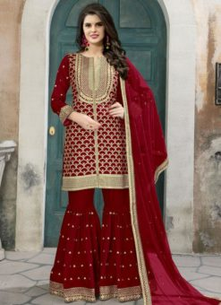 Alluring Red Art Silk Designer Embroidered Work Palazzo Suit