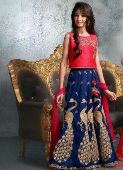 Wonderful Red And Blue Silk Designer Kids Wear