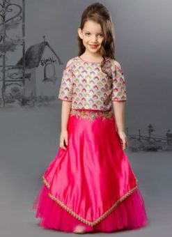Attractive Pink Silk And Net Designer Kids Wear