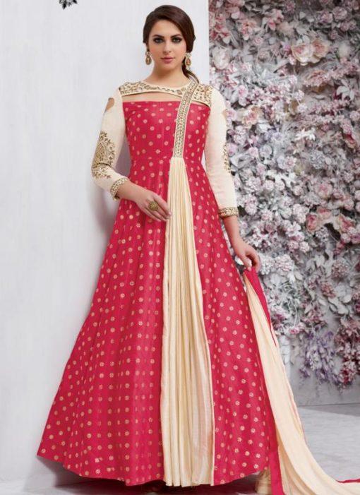 Charming Pink Tapeta Silk Designer Party Wear Anarkali Salwar Kameez