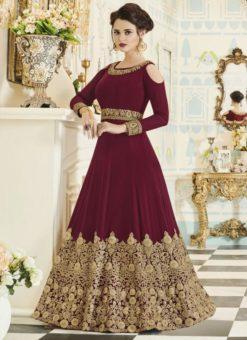 Fashionable Maroon Georgette Embroidered Work Anarkali Suit