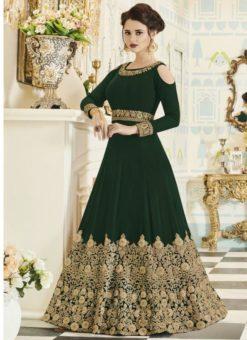 Amazing Green Designer Embroidered Work Georgette Anarkali Suit