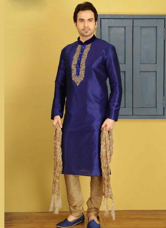 eb4e2cce38 Miraamall Blue Silk Kurta Pajama -- miraamall - USA UK Canada
