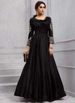 Elegant Black Silk Designer Salwar Kameez