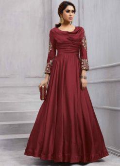 Attractive Maroon Silk Designer Salwar Kameez