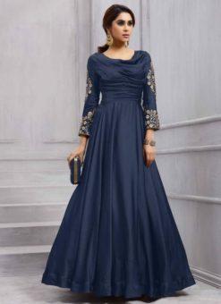Exquisite Navy Blue Silk Designer Salwar Kameez