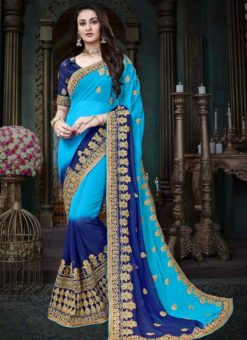 Glorious Blue Shaded Georgette Designer Saree