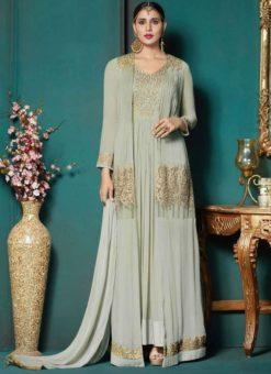 captivating Grey Georgette Embroidered Work Anarkali Salwar Suit