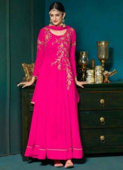 Charming Pink Georgette Designer Party Wear Anarkali Salwar Suit