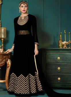 Attractive Black Georgette Embroidered Work Designer Anarkali Salwar Suit