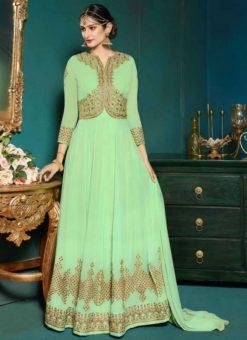 Beautiful Green Georgette Party Wear Designer Anarkali Salwar Suit