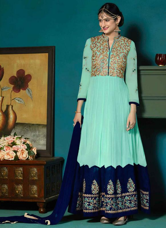 Lovely Blue Georgette Designer Anarkali Salwar Suit